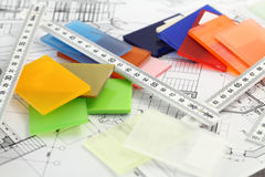 Color plastics & architectural blueprints Royalty Free Stock Photos