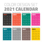 Color pocket calendar set 2021 Royalty Free Stock Photos