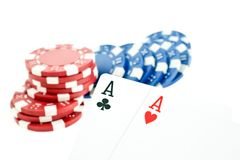Color poker chips and two aces cards Royalty Free Stock Photo