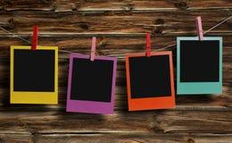 Color polaroid photos hanging Stock Image