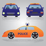 Color police car from front, back and side view Stock Photos