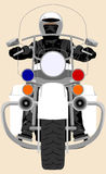 Color police patrol heavy motorcycle with policeman front view isolated vector illustration Royalty Free Stock Images