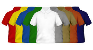 Color Polo Shirts. On White Background Stock Photos