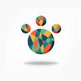 Color polygonal paw vector graphic design Stock Images