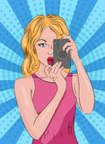 Color Pop Art illustration of a woman with an old camera. Royalty Free Stock Photography