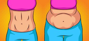 Color  pop art style  illustration girl before and after weight loss. Flat stomach vs the fat belly. Concept. Poster about healthy eating and lifestyle. Sports royalty free illustration