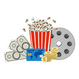 Color pop corn, clipart movie and money icon. Illustraction design Royalty Free Stock Photos