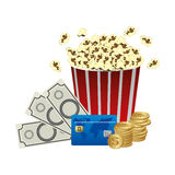 Color pop corn, clipart movie and money icon. Illustraction design Royalty Free Stock Photography