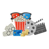 Color pop corn, 3d glasses, clapper board and money. Illustraction Royalty Free Stock Photo