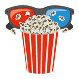 Color pop corn with 3d glasses icon. Illustraction design Royalty Free Stock Photo