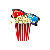 Color pop corn with 3d glasses icon. Illustraction design Stock Images