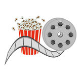 Color pop corn with film production icon. Illustraction design Stock Photos