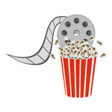 Color pop corn with film production icon. Illustraction design Stock Image