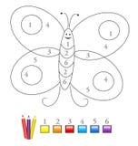 Color por el juego de número: mariposa Imagenes de archivo