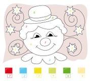 Color por el juego de número: payaso Fotos de archivo
