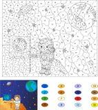 Color por el juego educativo del número para los niños Astronauta con una bandera Fotografía de archivo