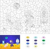 Color por el juego educativo del número para los niños Astronauta y extranjeros Imagen de archivo libre de regalías