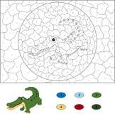 Color por el juego educativo del número para los niños Crocodi divertido de la historieta Foto de archivo libre de regalías