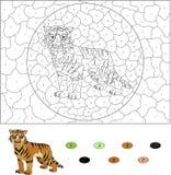 Color por el juego educativo del número para los niños Historieta sable-dentada Fotos de archivo libres de regalías