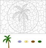 Color por el juego educativo del número para los niños Palmera de la historieta VE Fotografía de archivo libre de regalías