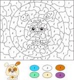 Color por el juego educativo del número para los niños Perro o perrito de la historieta Imágenes de archivo libres de regalías