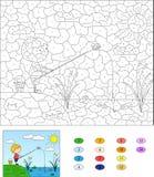 Color por el juego educativo del número para los niños Pescador del muchacho con el fi ilustración del vector