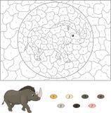 Color por el juego educativo del número para los niños Fotos de archivo