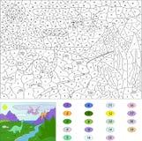 Color por el juego educativo del número para los niños Pterodáctilo de los dinosaurios Foto de archivo libre de regalías