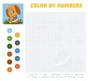 Color por el número, juego de la educación con el perro ilustración del vector