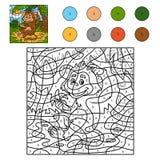 Color por el número, juego para los niños: mono con un plátano Imagen de archivo