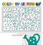 Color por las letras Aprendizaje de las mayúsculas del alfabeto Rompecabezas para los niños Letra W Poder de riego Educación pree Foto de archivo
