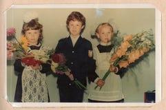 Color portrait photograph of schoolchildren. royalty free stock image