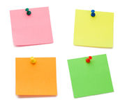 Color Post-its With Drawing Pins Royalty Free Stock Image