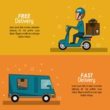 Color poster banner scene fast delivery man scooter with packages and truck. Vector illustration Royalty Free Stock Photos