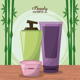 Color poster of beauty center with bamboo plant and kit of facial cream treatment Stock Photo