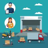 Color poster with circular frame of icons people logistics and facade warehouse storage and vehicles transporting. Cardboard boxes vector illustration Stock Photo