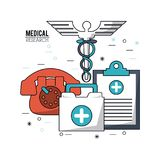 Color poster medical research with caduceus symbol and medical clipboard and phone and first aid kit. Vector illustration Stock Images