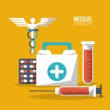 Color poster medical research with caduceus symbol and test tube and syringe pills and first aid kit. Vector illustration Royalty Free Stock Images