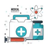 Color poster medical research with first aid kit syringe and pills bottle. Vector illustration Royalty Free Stock Photography