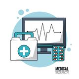 Color poster medical research with icons pulse monitoring and first aid kit and pills. Vector illustration Royalty Free Stock Images