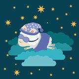 Color poster scene night landscape of sleep time with sheeps in the clouds with sleep mask. Vector illustration Stock Photo