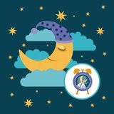 Color poster scene sky landscape of moon with sleeping cap dreaming and alarm clock icon. Vector illustration Royalty Free Stock Photos