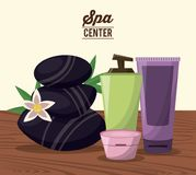 Color poster of spa center with black stones and kit of skin cream treatment Royalty Free Stock Photography