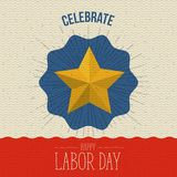 Color poster with zigzag lines and stars of celebrate happy labor day. Vector illustration Stock Images