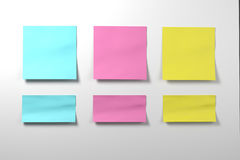 Color postit sticker set on white background Royalty Free Stock Photography
