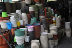 The Color pots in the shop Royalty Free Stock Photo