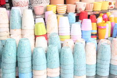 The Color pots in the shop Stock Images