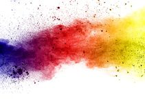 Color powder explosion. Explosion of color powder on white background Royalty Free Stock Images