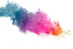 Color powder explosion on white background royalty free stock images