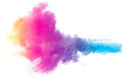 Color powder explosion on white background stock photo